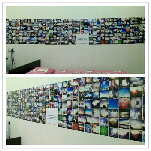 Instagram printout decorate on the wall